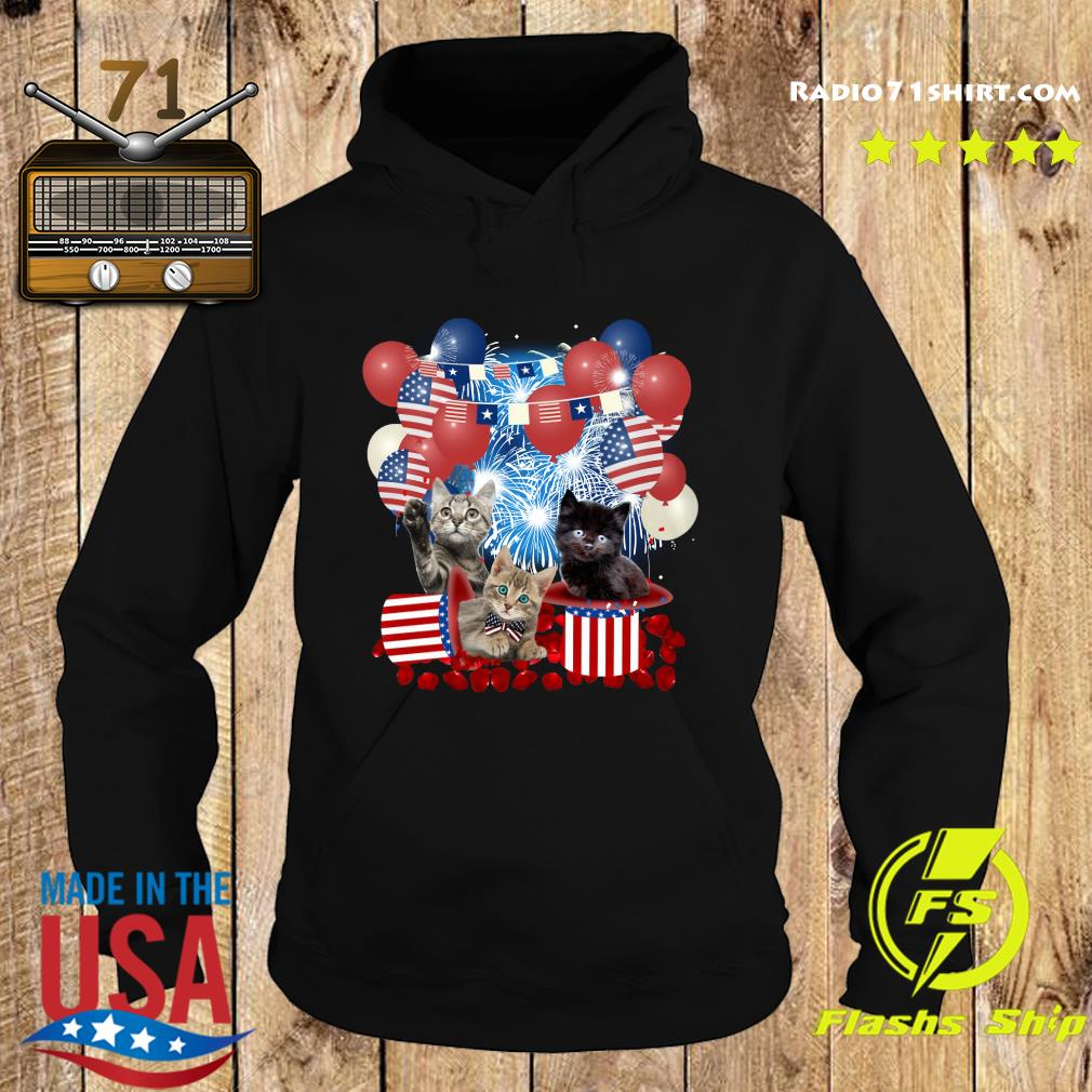 Cats Balloons Fireworks Independence Day 4th Of July Shirt Hoodie