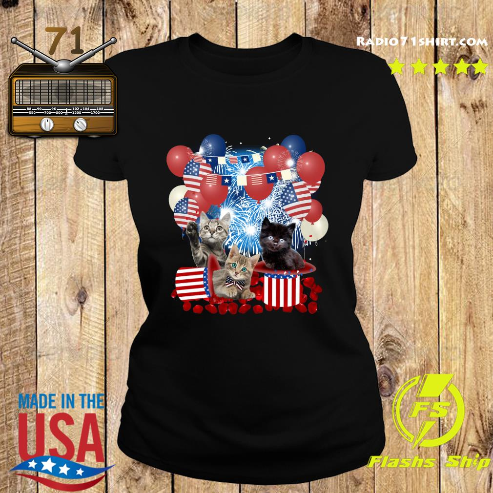 Cats Balloons Fireworks Independence Day 4th Of July Shirt Ladies tee