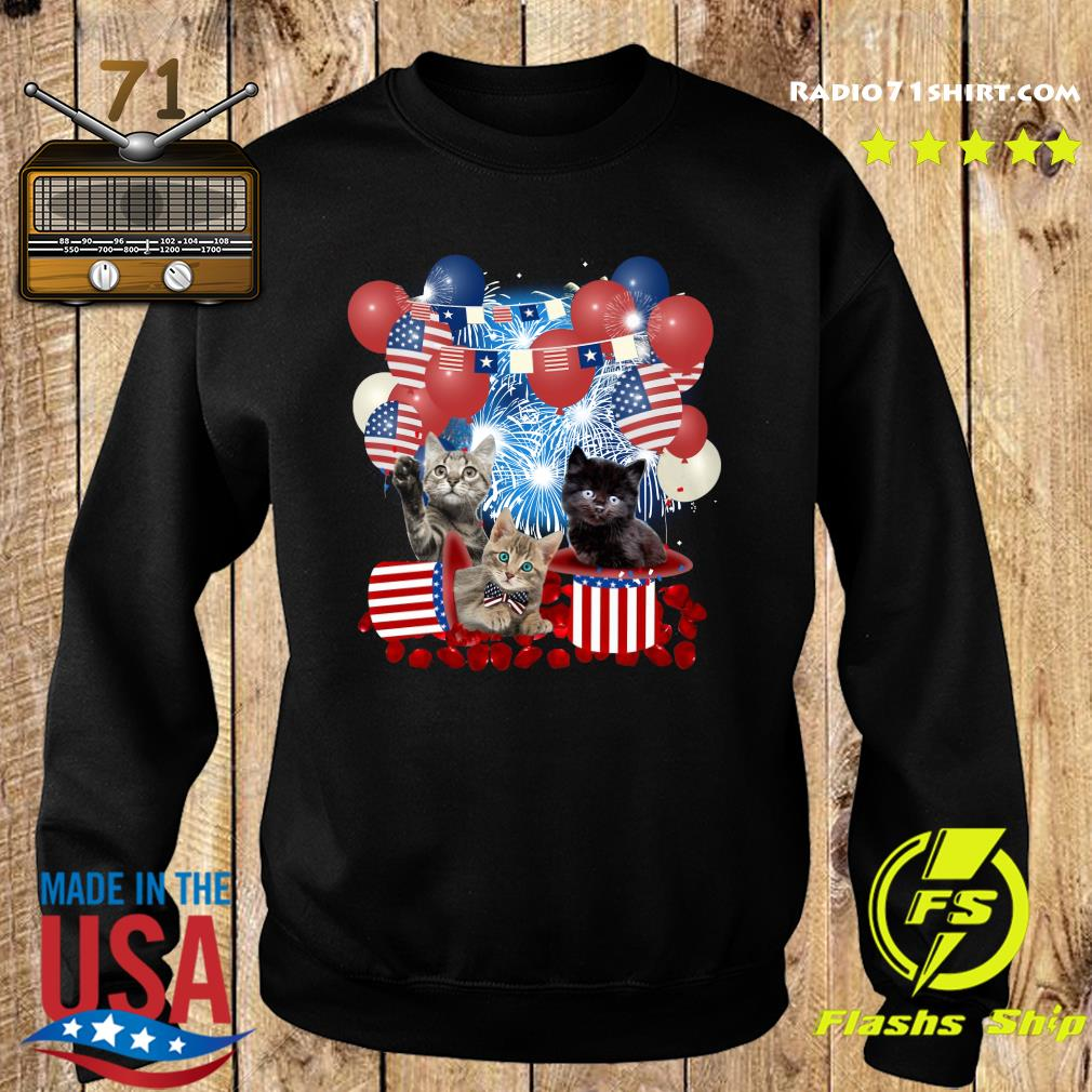Cats Balloons Fireworks Independence Day 4th Of July Shirt Sweater