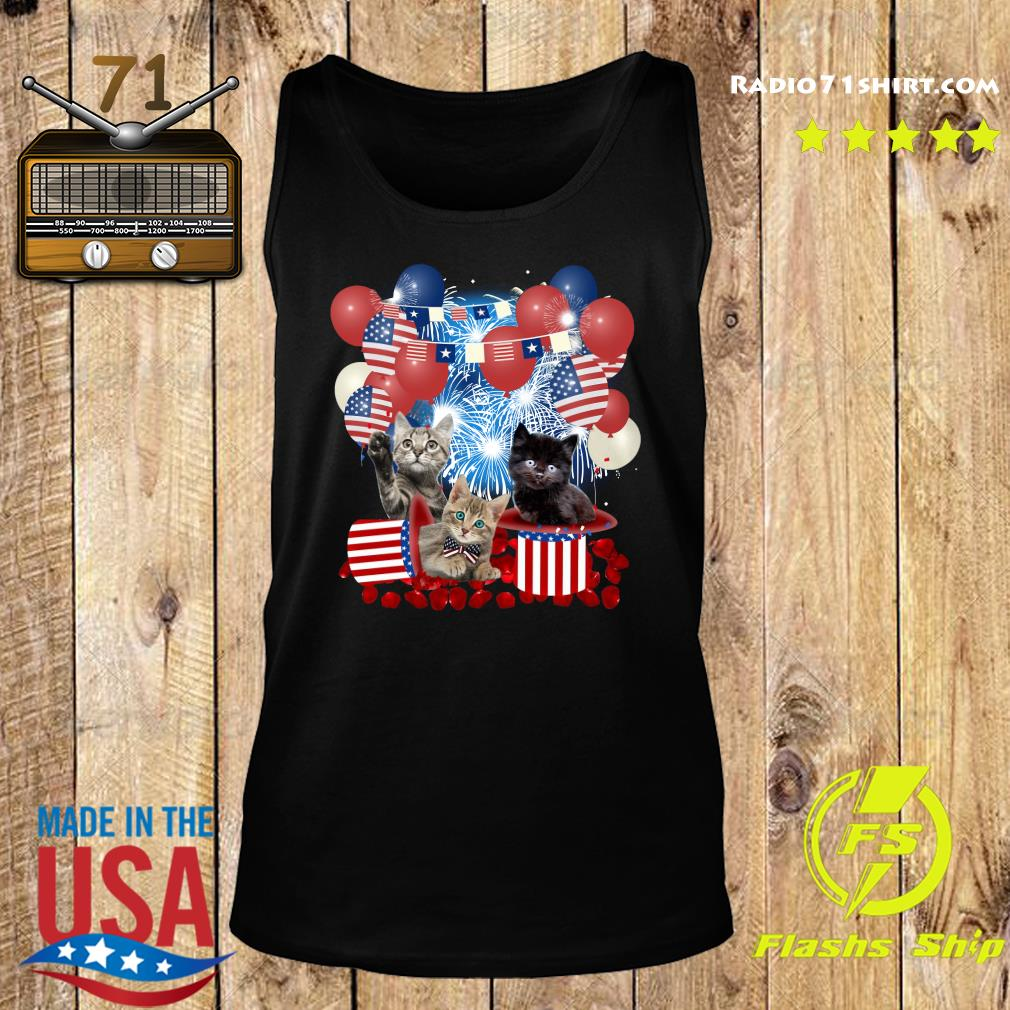 Cats Balloons Fireworks Independence Day 4th Of July Shirt Tank top