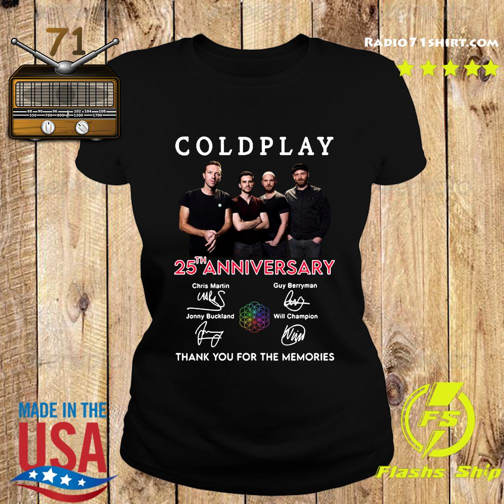 Coldplay 25th Anniversary Thank You For The Memories Signatures Shirt Ladies tee