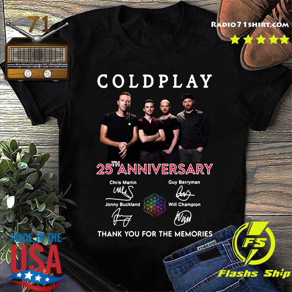 Coldplay 25th Anniversary Thank You For The Memories Signatures Shirt
