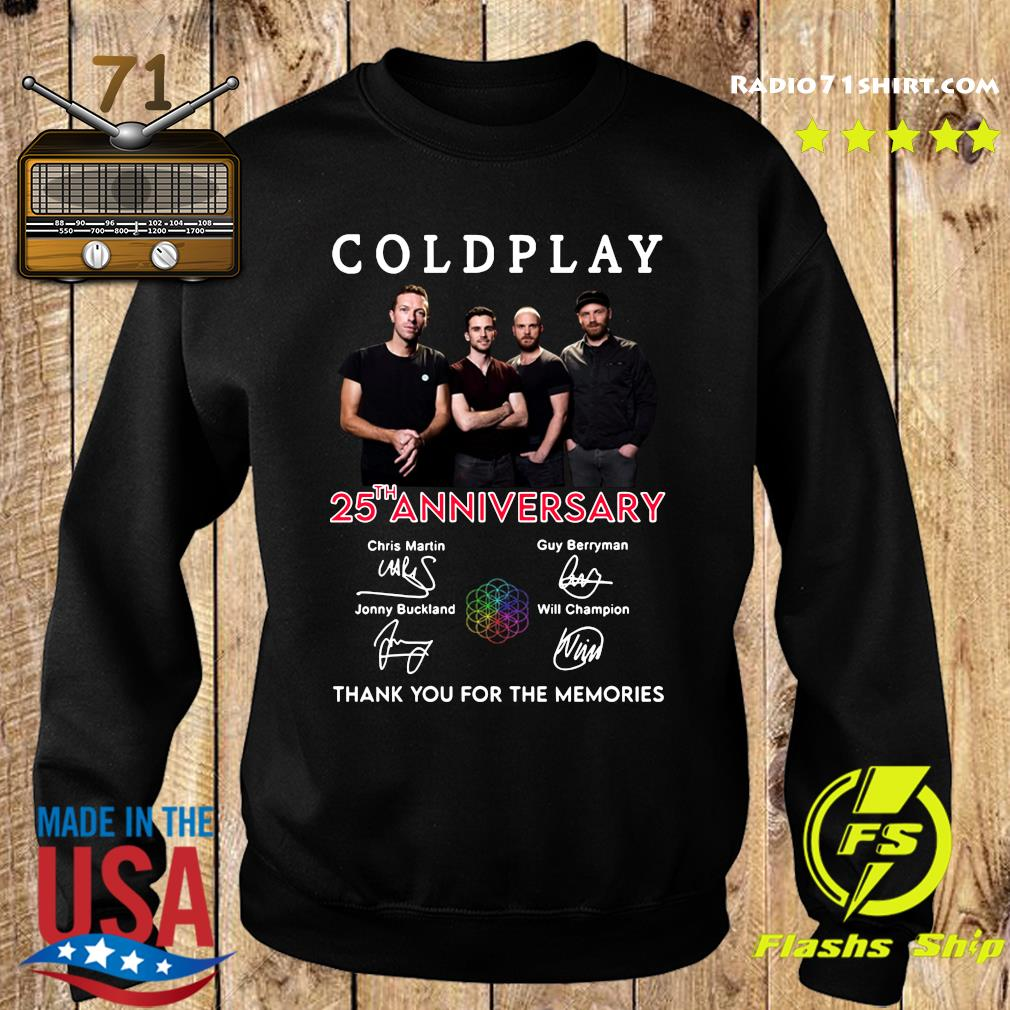 Coldplay 25th Anniversary Thank You For The Memories Signatures Shirt Sweater