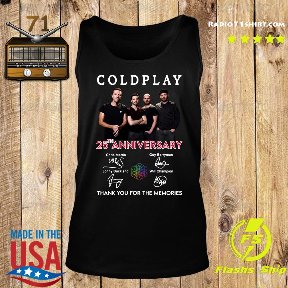 Coldplay 25th Anniversary Thank You For The Memories Signatures Shirt Tank top