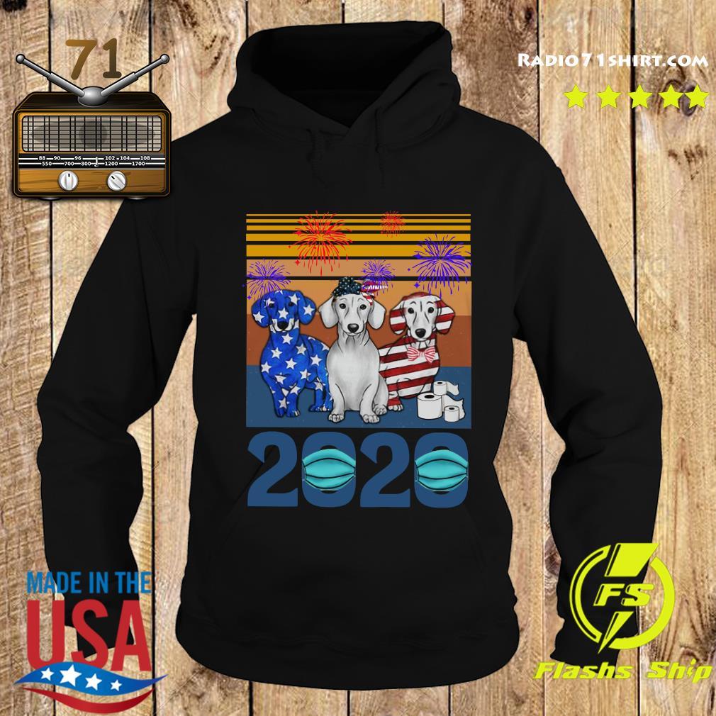 Dachshund 4 Of July 2020 Quarantined Vintage Shirt Hoodie