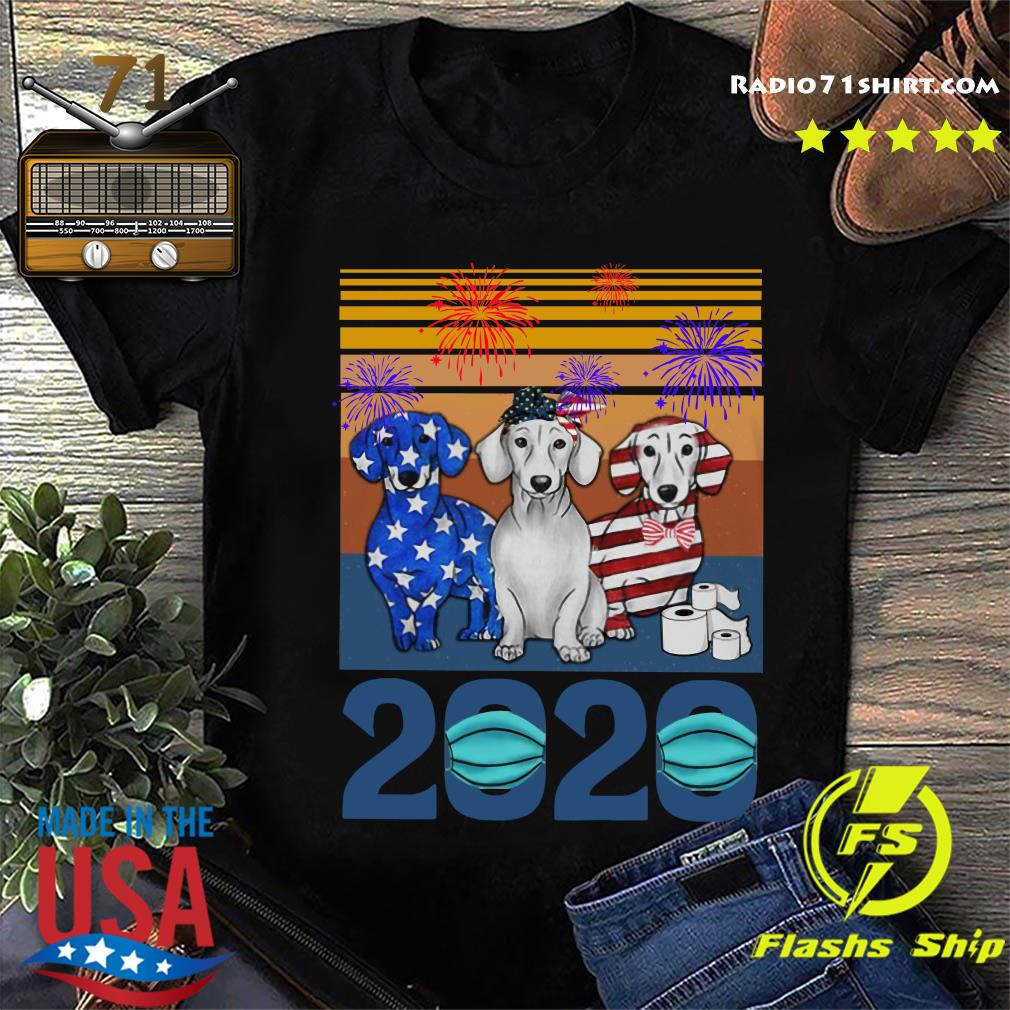 Dachshund 4 Of July 2020 Quarantined Vintage Shirt