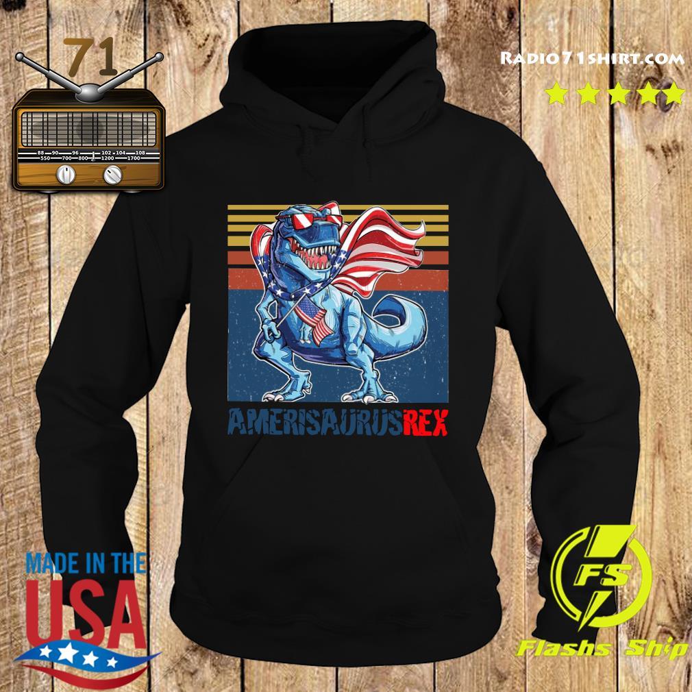 Dinosaur American Flag 4th Of July Ameri Saurus Rex Retro Shirt Hoodie