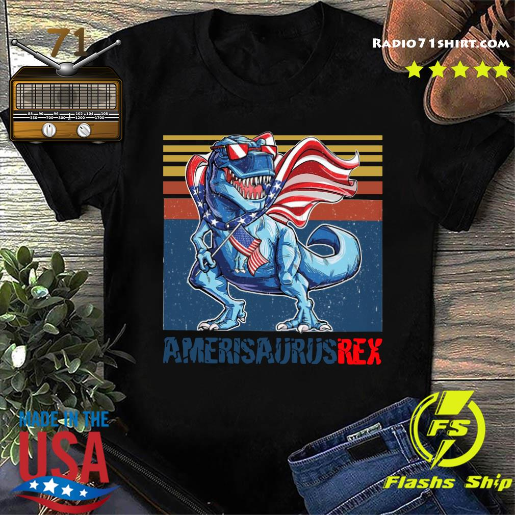 Dinosaur American Flag 4th Of July Ameri Saurus Rex Retro Shirt