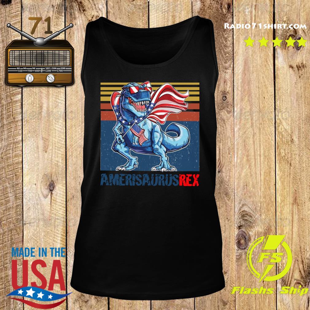 Dinosaur American Flag 4th Of July Ameri Saurus Rex Retro Shirt Tank top