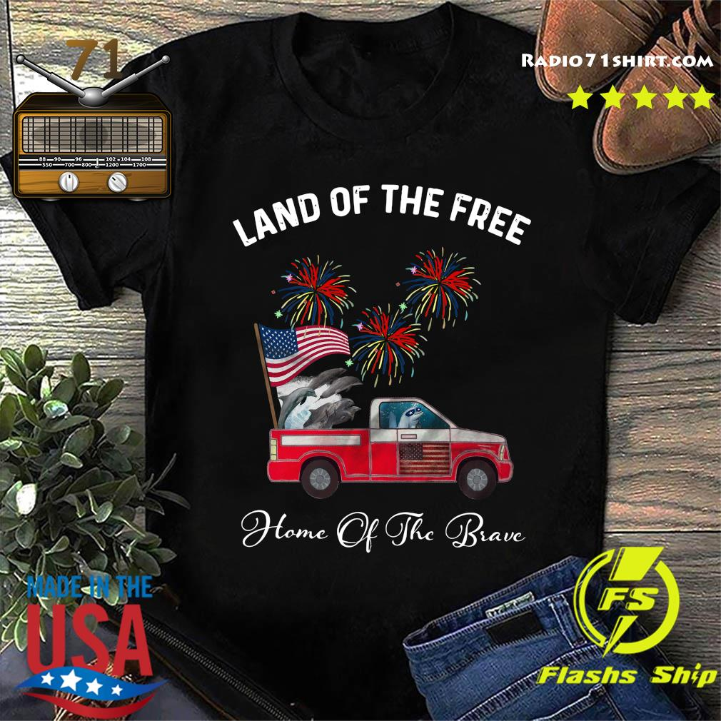 Dolphin Land Of The Free Home Of The Brave Car American Flag Veteran Independence Day Shirt