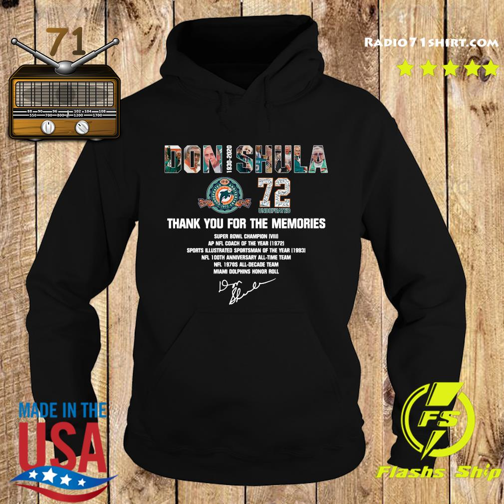 Don Shula 72 Undefeated 1930 2020 Thank You For The Memories Signature Shirt Hoodie