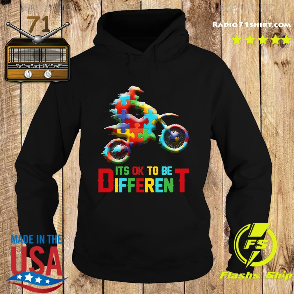 Funny Motorbike It's Ok To Be Different Autism Awareness Shirt Hoodie