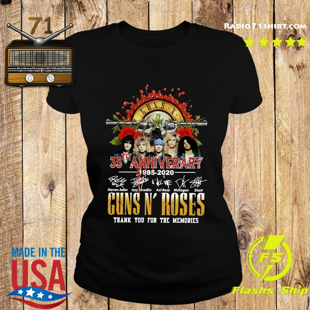 Guns N Roses 35th Anniversary 1985 2020 Thank You For The Memories Signatures Shirt Ladies tee