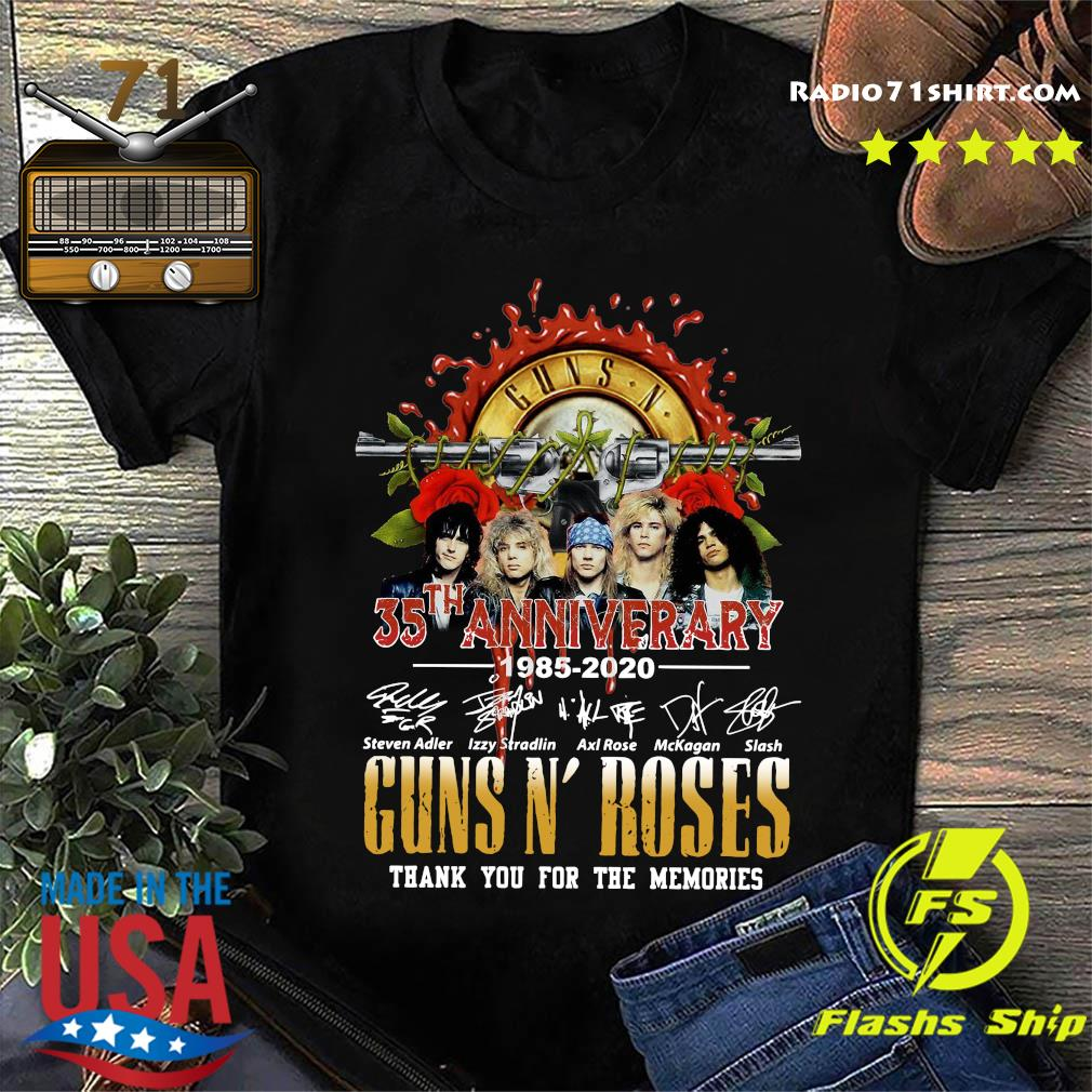 Guns N Roses 35th Anniversary 1985 2020 Thank You For The Memories Signatures Shirt
