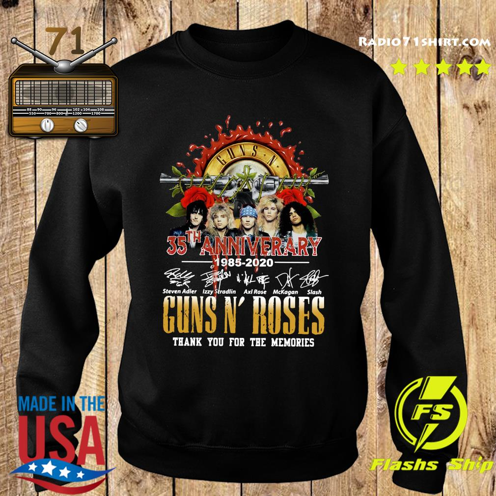 Guns N Roses 35th Anniversary 1985 2020 Thank You For The Memories Signatures Shirt Sweater