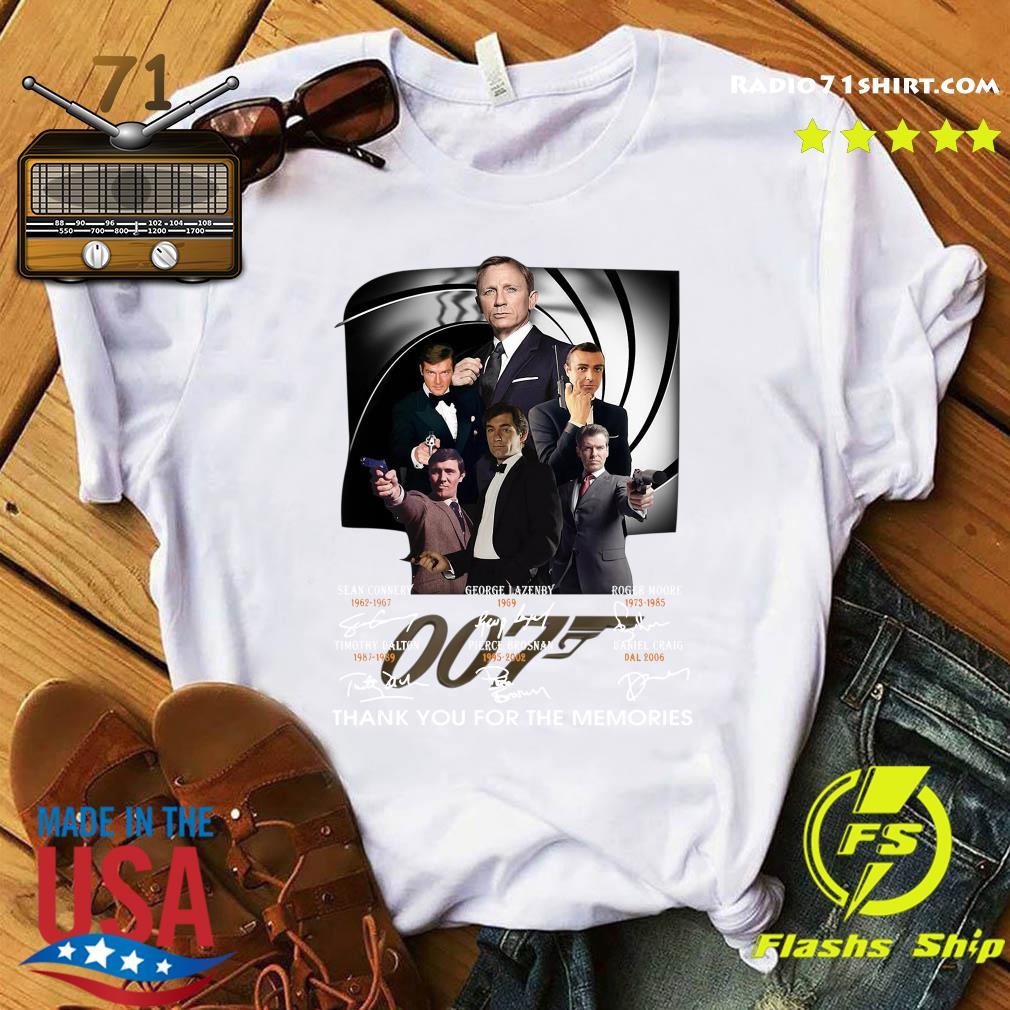 James Bond 007 Movies Thank You For The Memories Signatures Shirt