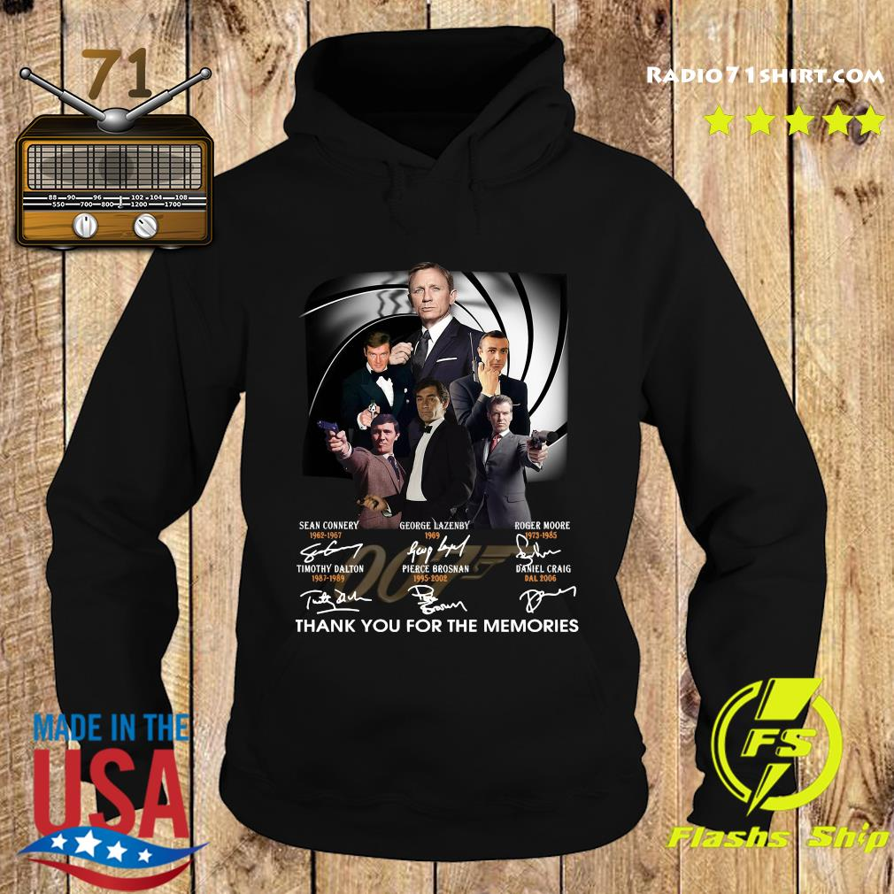 James Bond 007 Sean Connery George Lazenby Roger Moore Thank You For The Memories Signatures Shirt Hoodie