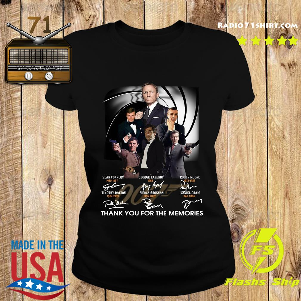 James Bond 007 Sean Connery George Lazenby Roger Moore Thank You For The Memories Signatures Shirt Ladies tee