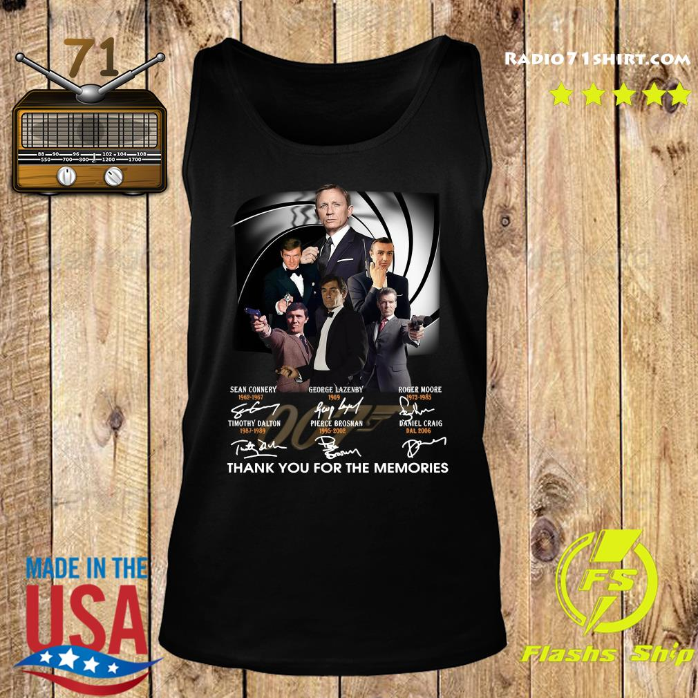 James Bond 007 Sean Connery George Lazenby Roger Moore Thank You For The Memories Signatures Shirt Tank top