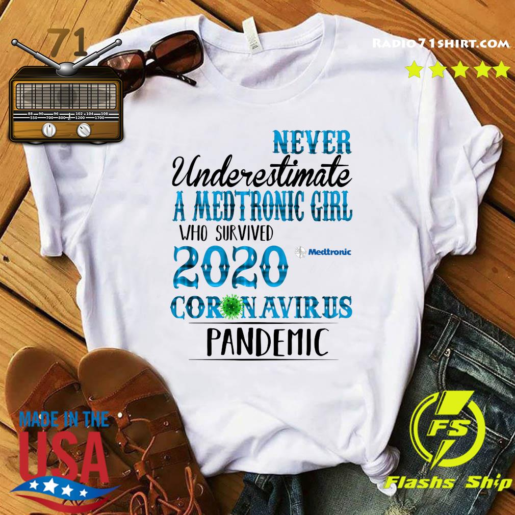 Never Underestimate A Medtronic Girl Who Survived 2020 Coronavirus Pandemic Shirt