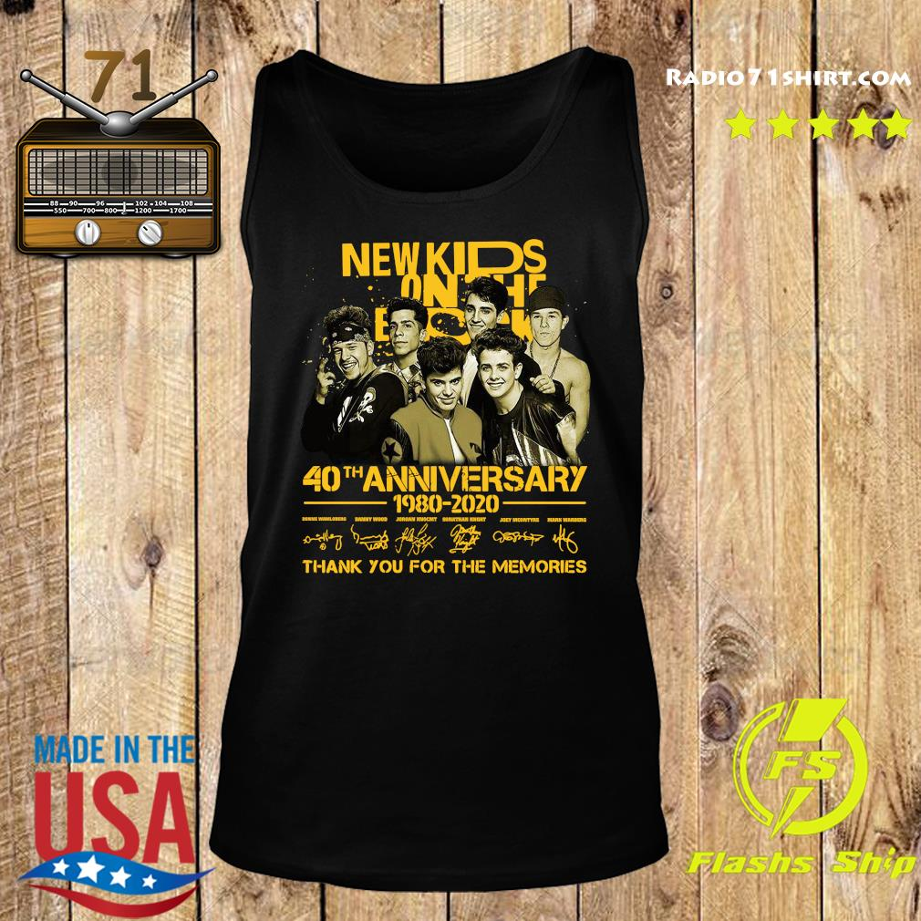 New Kids On The Block 40th Anniversary 1980 2020 Thank You For The Memories Signatures Shirt Tank top