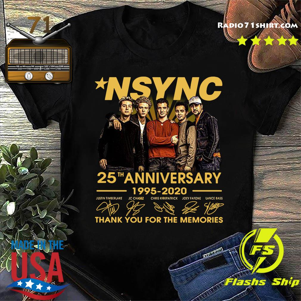 Nsync 25th Anniversary 1995 2020 Thank You For The Memories Signatures Shirt