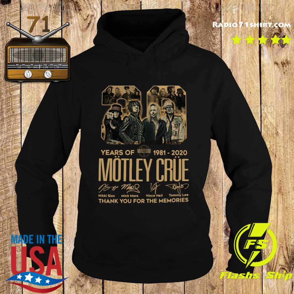 Official 39 Years Of Motley Crue 1981 2020 Thank You For The Memories Signatures Shirt Hoodie