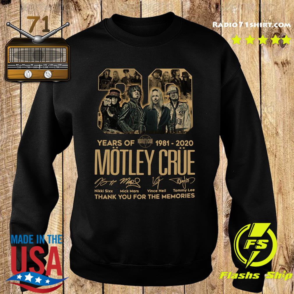 Official 39 Years Of Motley Crue 1981 2020 Thank You For The Memories Signatures Shirt Sweater