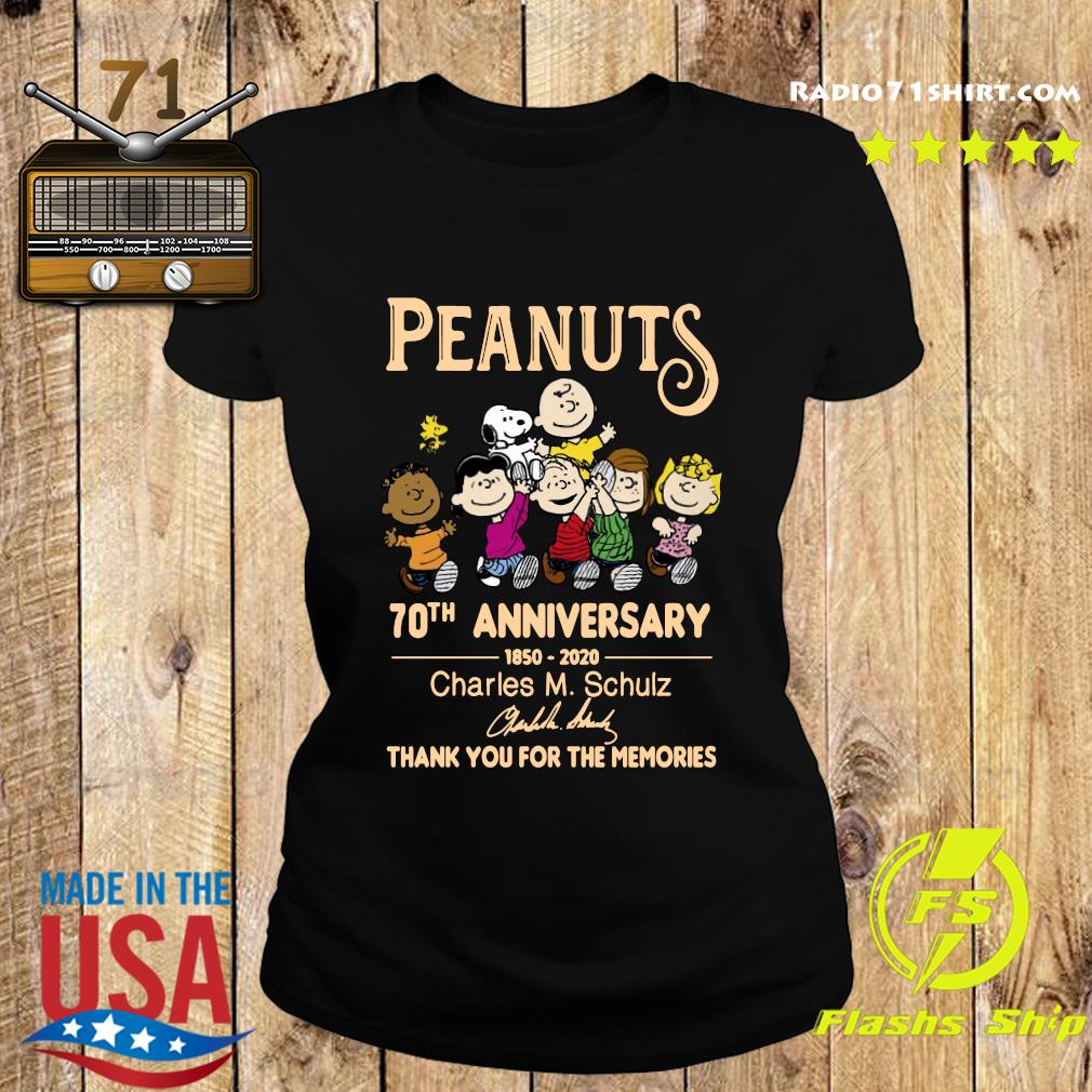 Peanuts 70th Anniversary 1850 2020 Charles M. Schulz Thank You For The Memories Signature Shirt Ladies tee