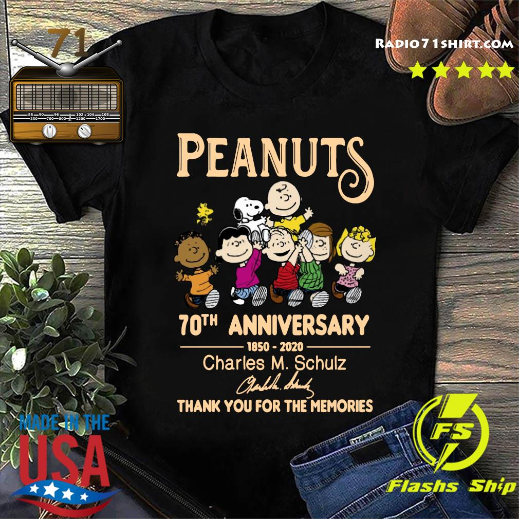 Peanuts 70th Anniversary 1850 2020 Charles M. Schulz Thank You For The Memories Signature Shirt
