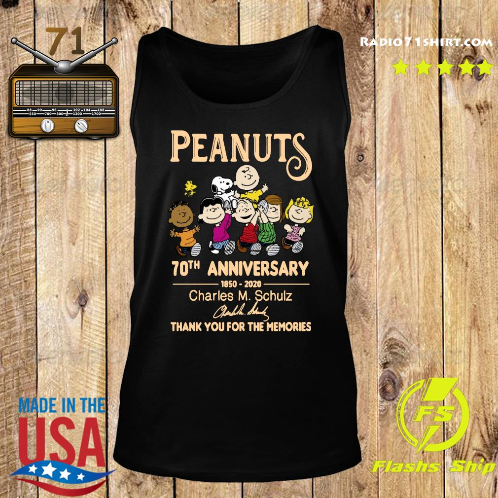 Peanuts 70th Anniversary 1850 2020 Charles M. Schulz Thank You For The Memories Signature Shirt Tank top