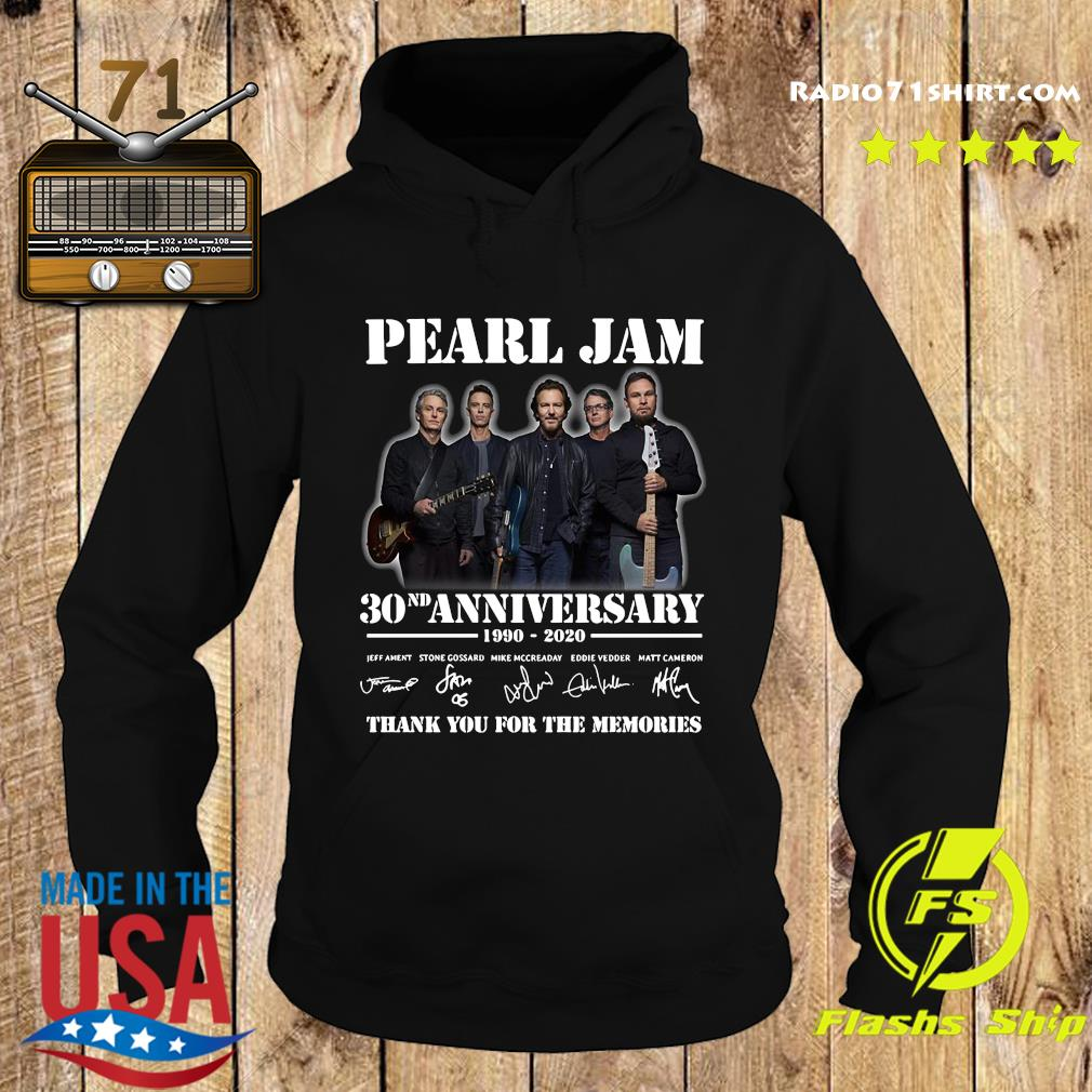 Pearl Jam 30nd Anniversary 1990 2020 Thank You For The Memories Signatures Shirt Hoodie