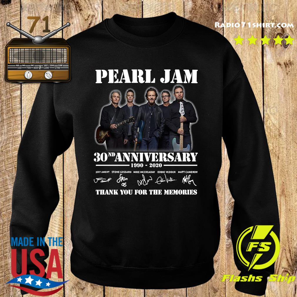 Pearl Jam 30nd Anniversary 1990 2020 Thank You For The Memories Signatures Shirt Sweater