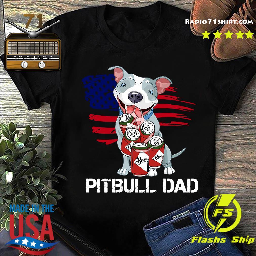 Pitbull Dad Beer American Flag Shirt