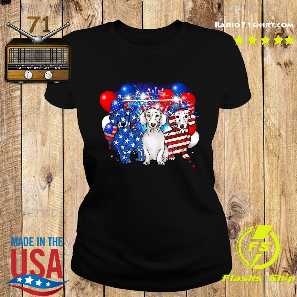Premium Firework Dachshund American Flag 4th Of July Independence Day Shirt Ladies tee