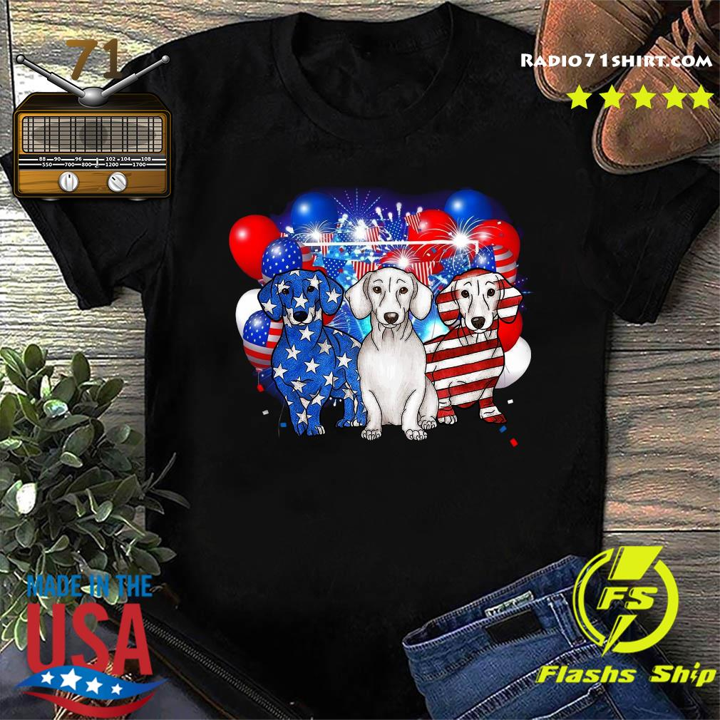 Premium Firework Dachshund American Flag 4th Of July Independence Day Shirt