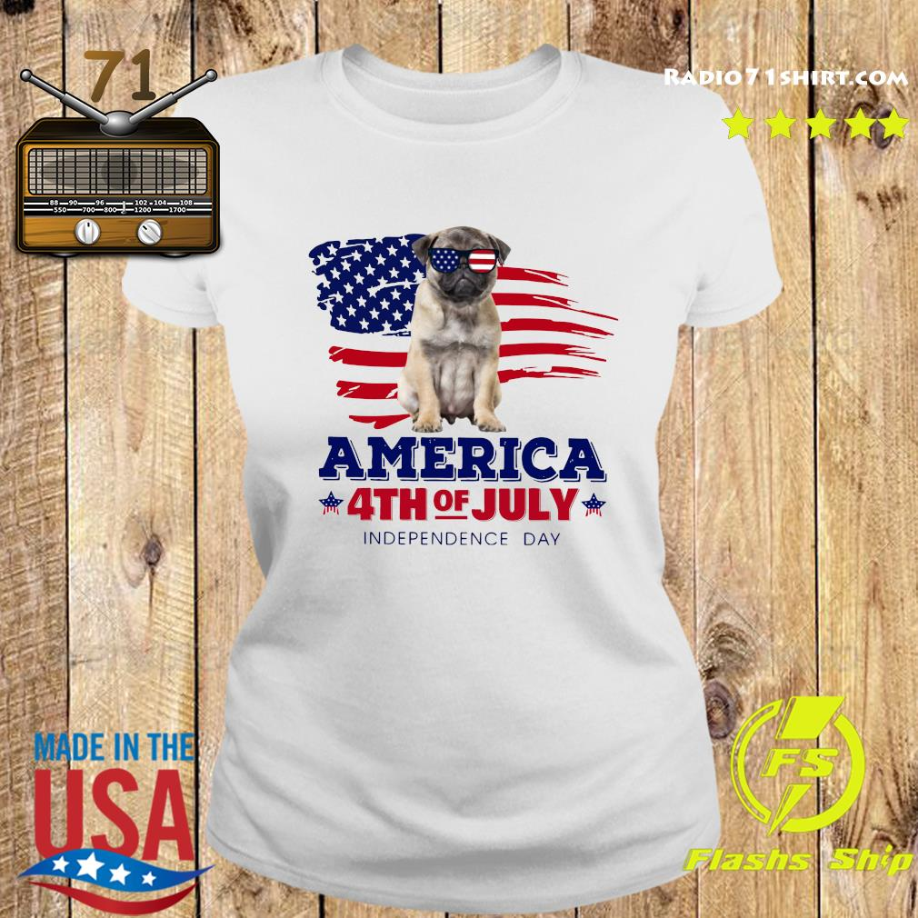Pug America 4th Of July Independence Day Shirt Ladies tee