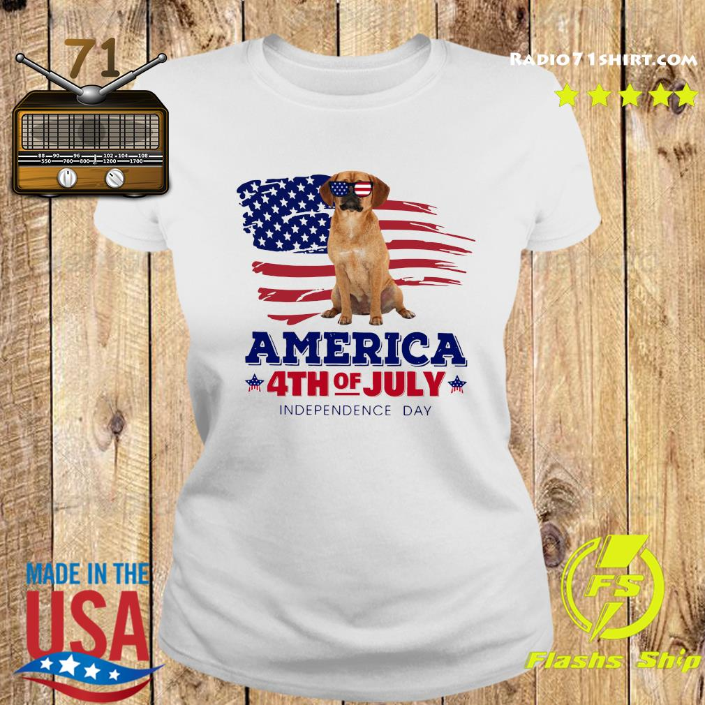 Puggle America 4th Of July Independence Day Shirt Ladies tee