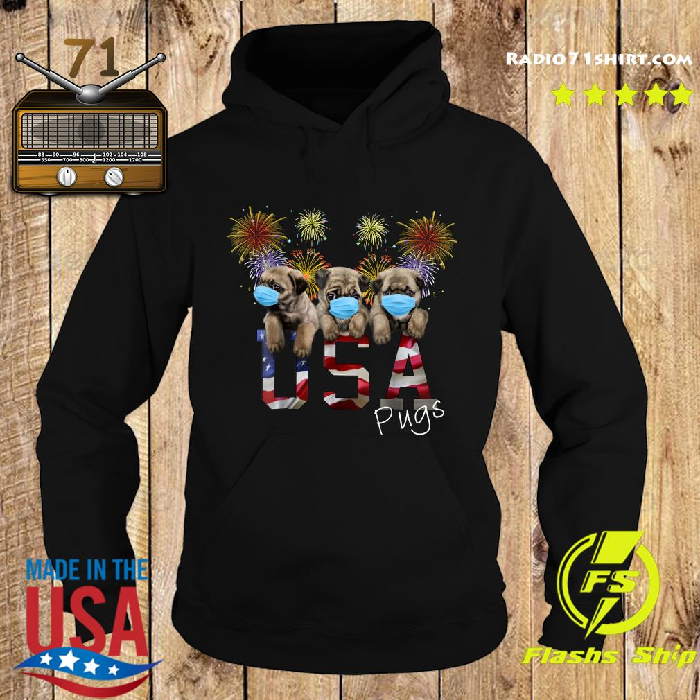Pugs Face Mask Usa American Flag Shirt Hoodie