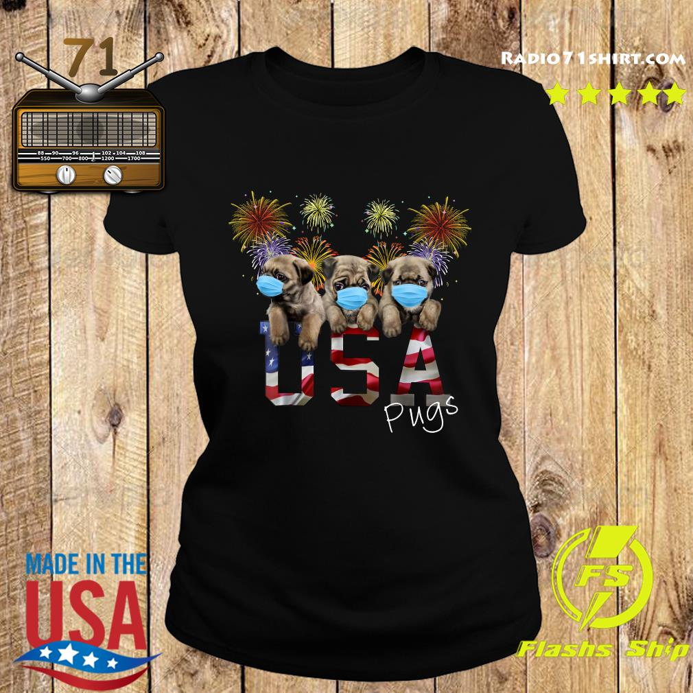 Pugs Face Mask Usa American Flag Shirt Ladies tee