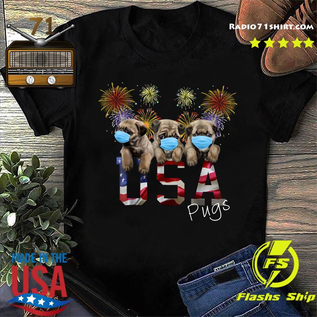 Pugs Face Mask Usa American Flag Shirt