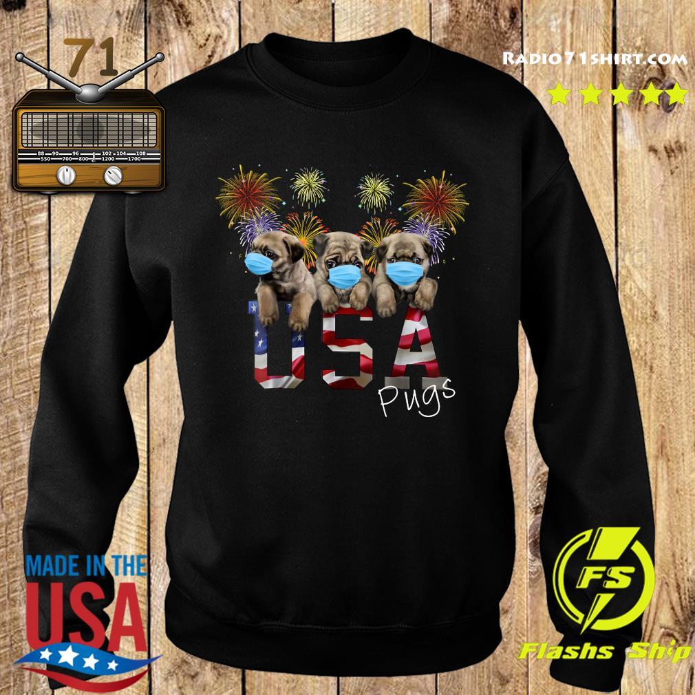 Pugs Face Mask Usa American Flag Shirt Sweater