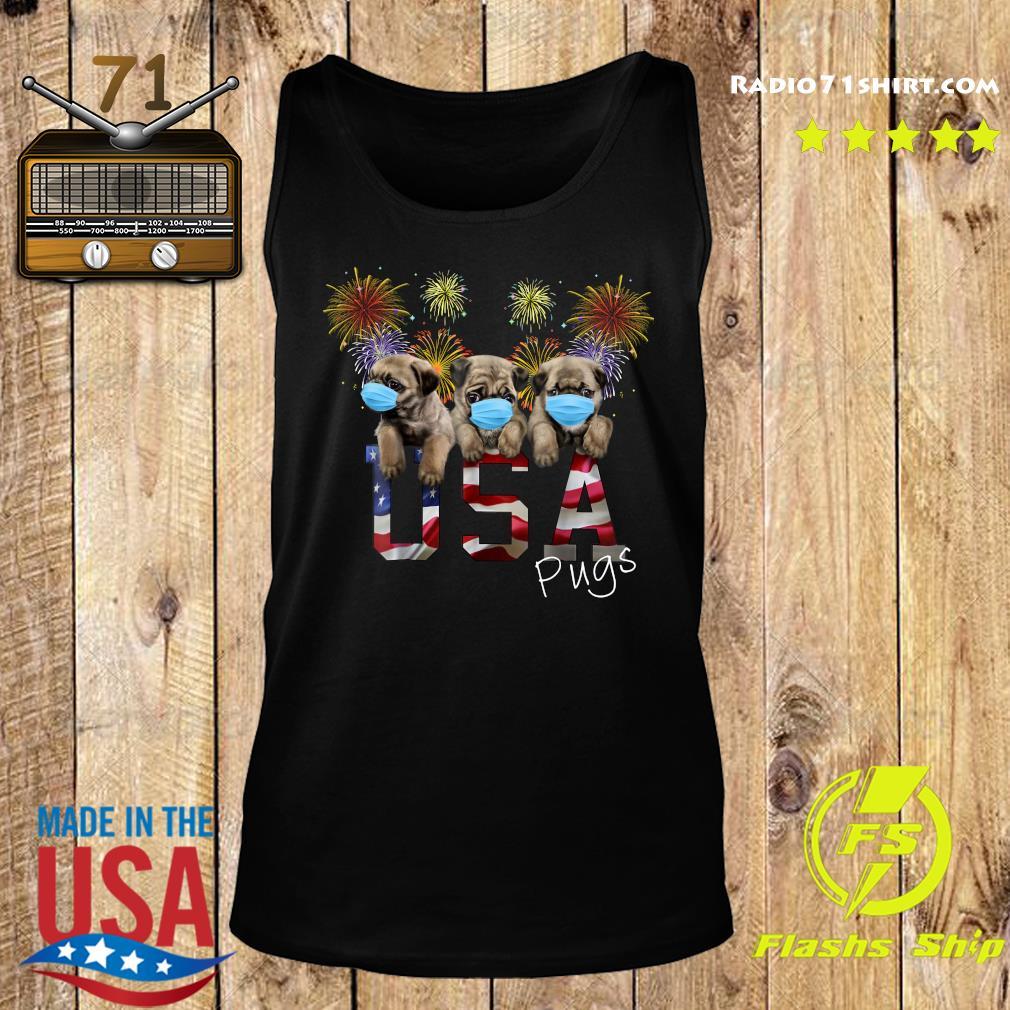 Pugs Face Mask Usa American Flag Shirt Tank top