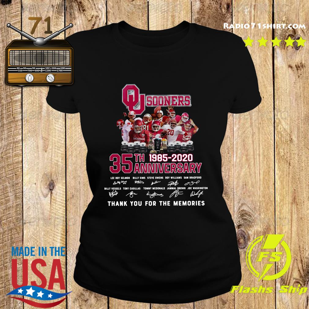 Qu Sooners 35th Anniversary 1985 2020 Thank You For The Memories Signatures Shirt Ladies tee