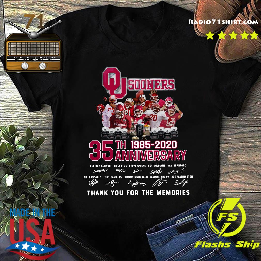Qu Sooners 35th Anniversary 1985 2020 Thank You For The Memories Signatures Shirt
