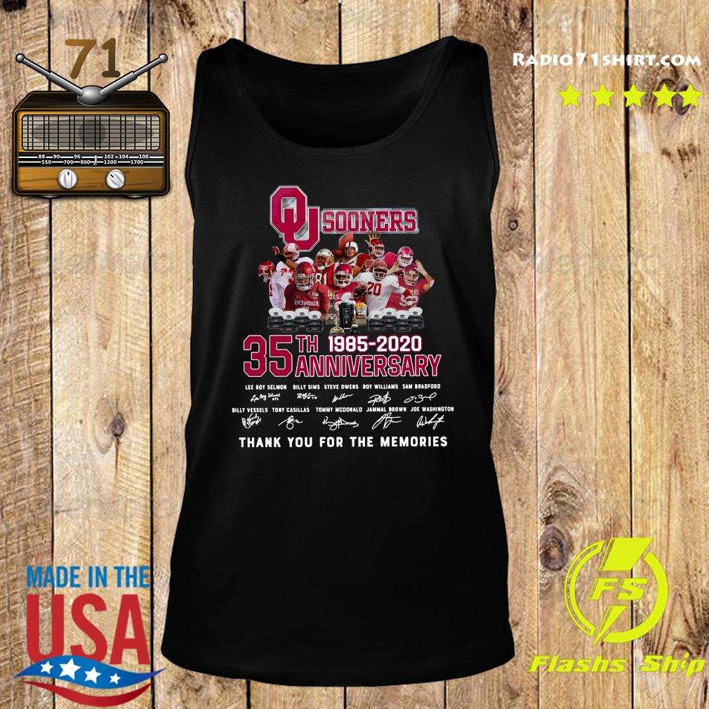 Qu Sooners 35th Anniversary 1985 2020 Thank You For The Memories Signatures Shirt Tank top
