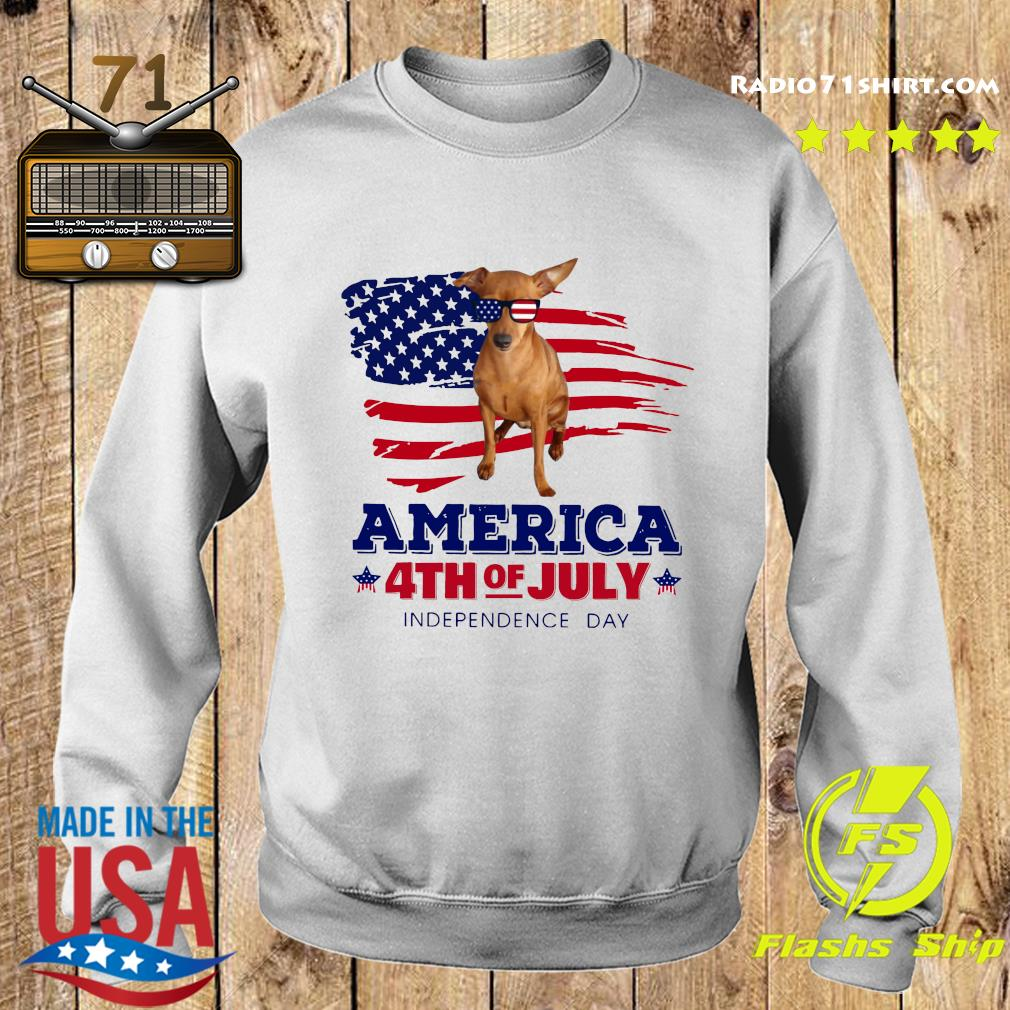 Red Miniature Pinscher America 4th Of July Independence Day Shirt Sweater