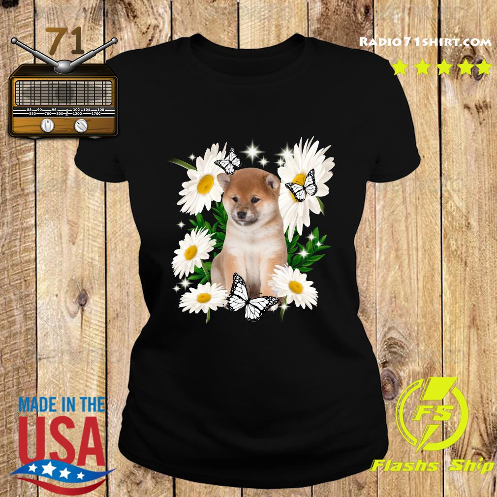 Shiba Inu Daisy flower Classic T-Shirt Ladies tee
