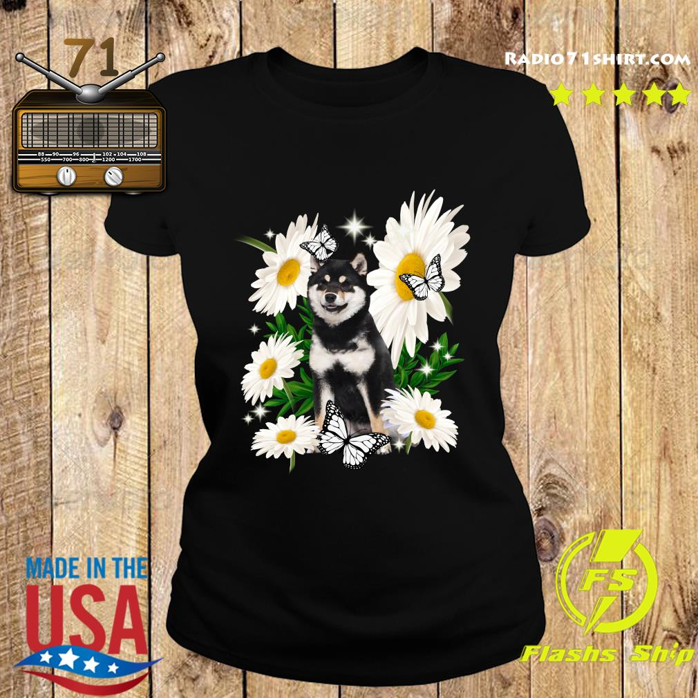 Shiba Inu Dog Daisy flower Classic T-Shirt Ladies tee