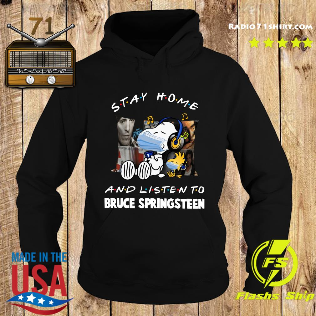 Snoopy Face Mask Stay Home And Listen To Bruce Springsteen Shirt Hoodie